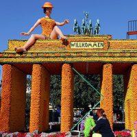 Фестиваль лимонов  во Франции, скульптуры из цитрусовых